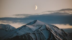 Landscape Moon Nature Mountains Snowy Mountain Clouds 2048x1346 wallpaper