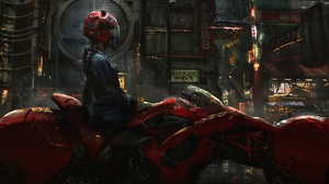 Bike Biker Cyberpunk Futuristic Girl Motorcycle Vehicle Woman 2287x1080 Wallpaper