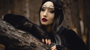 Women Model Women Outdoors Witch Fantasy Girl Makeup Black Nails Painted Nails Red Lipstick Looking  2560x1709 Wallpaper