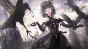 Anime Anime Girls Crow Necklace Black Hair Red Eyes Black Dress Castle 5120x2880 Wallpaper