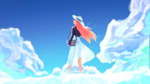 Bag Cloud Girl Hat Orange Hair 2667x1500 Wallpaper