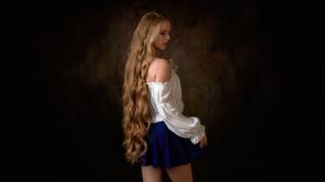 Max Pyzhik Women Model Blonde Long Hair Profile Parted Lips Bare Shoulders White Tops Behind Studio  3840x2160 Wallpaper