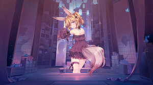 Anime Girls Anime Photoshop Landscape Digital Art Picture In Picture Abstract Metalanguage Room Wolf 1920x1080 wallpaper
