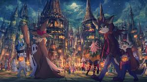Animal Ears Anthro Bakawasima Castle Jack O Lantern Broom Halloween Cape City Cityscape Costumes Cro 2171x1000 Wallpaper