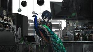 Anime Anime Girls Black Hair Barrette Blue Eyes Monitor Peacock Robot Wires Tuxedo Bottles Laborator 1778x1000 wallpaper
