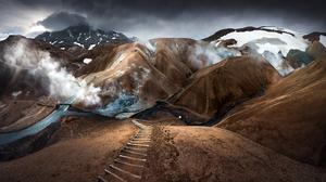 Nature Landscape Mountains Snowy Peak Path Clouds Mist Karol Nienartowicz Iceland 1620x900 wallpaper