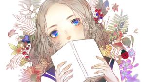 Anime Anime Girls Books Blue Eyes Blonde Flowers Earring Ladybugs White Background Mushroom Short Ha 1920x1080 Wallpaper