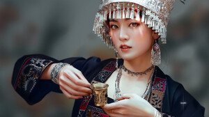 Huy Ozuno Looking At Viewer Cup Open Mouth Women Digital Art Depth Of Field Blurry Background Hands  1920x1401 Wallpaper