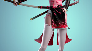 Cifangyi CGi Women Asian Hat Looking At Viewer Leather Armor Weapon Katana Samurai Blue 2997x4500 Wallpaper