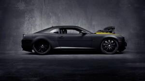 Car Camaro Chevrolet Camaro Muscle Cars Vehicle Black Cars Black Gray Background Side View 1920x1080 wallpaper