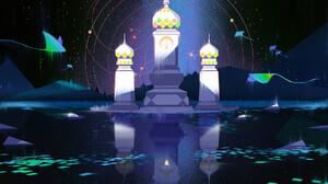 Jun Dong Li Digital Art Fantasy Art Manta Rays Indian Architecture Water Reflection 1800x1057 wallpaper