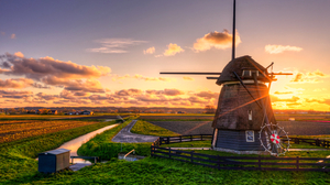 Windmill Field Water Landscape Sun Sunset HDR Clouds Sky Fence Photography Nature Outdoors Warm Warm 5120x3380 Wallpaper