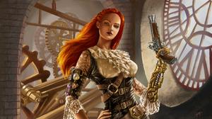 Girl Green Eyes Gun Orange Hair Steampunk Woman 3200x1800 Wallpaper