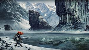 Viking Ragnarok Ice Mountains Snow Shield Lance Rocks Mythology 3840x1634 Wallpaper