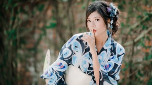 Asian Black Hair Depth Of Field Girl Kimono Model Woman 4000x2668 Wallpaper