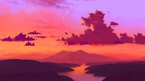 BisBiswas Landscape Digital Art Rocket Sky Clouds Science Fiction Colorful Artwork Nature River Sunl 1920x1080 Wallpaper