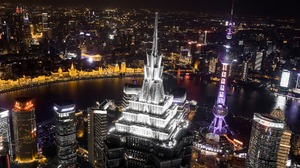 China City Jin Mao Tower Light Night River Shanghai Skyscraper 1920x1280 Wallpaper
