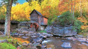Nature Fall Water Mills Water Trees 7984x5420 Wallpaper