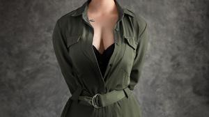 Evgeny Sibiraev Women Brunette Hairband Makeup Eyeliner Looking At Viewer Smirk Green Clothing Tatto 1080x1350 Wallpaper
