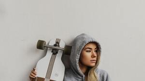 Women Model Annika Palmari Blonde Blue Eyes Hoods Long Hair Longboard Sitting Looking Into The Dista 2134x3201 wallpaper