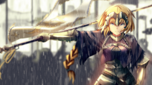 Armor Blonde Fate Grand Order Flag Girl Jeanne D 039 Arc Fate Series Long Hair Purple Eyes Rain Rule 3508x1595 Wallpaper
