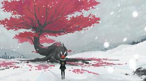 Salo XU Digital Art Fantasy Art Bunny Ears Backpacks Trees Snow 1920x988 Wallpaper