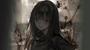 Anime Anime Girls Original Characters Artwork LM7 Dark Hair Dark Eyes 2000x1215 wallpaper