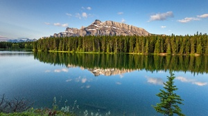Canada Forest Lake Mountain Reflection Sky 5120x3414 Wallpaper