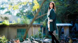 Asian Model Women Long Hair Brunette Knee High Boots Depth Of Field Bicycle Building Earring Blouse  3840x2561 Wallpaper