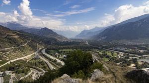 Alps Panorama Mountains Vineyards 6000x2542 Wallpaper