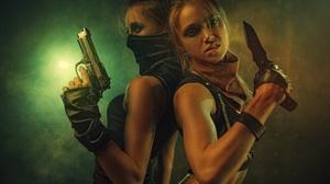 Women Two Women Gun Night Crime Dark Pistol Portrait Knife Warrior Soldier Lights Mask Angry 5600x3735 Wallpaper