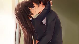 Couple Kissing Brunette Closed Eyes Anime Artwork School Uniform School Classroom Sunset Curtains Lo 1870x1496 Wallpaper
