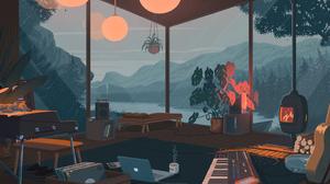 Laptop Rain Piano Plants Flowerpot Coffee Log Vinyl Lava Lamp Fireplace Trees Room 2880x1620 Wallpaper