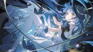 Anime Anime Girls Blue Eyes Blue Hair Long Hair Blush Dress Arknights Astesia Arknights Tuzhate 2300x1346 Wallpaper