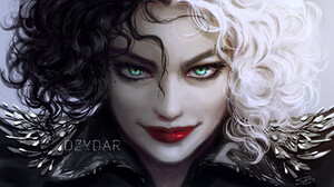 Dzy Dar Digital Art Artwork Digital Painting Cruella Cruella De Vil Disney Fan Art Emma Stone Celebr 1920x1087 wallpaper