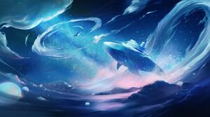 Digital Art Fantasy Art Whale Clouds Space 1920x1042 Wallpaper