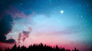 Sky Space Stars Galaxy Dark Lights Pink Night Forest Clouds Digital Art Artwork 5760x3840 Wallpaper