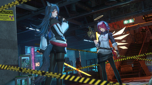 Anime Anime Girls Z AO Arknights Exusiai Arknights Texas Arknights Chen Arknights 4700x2000 wallpaper