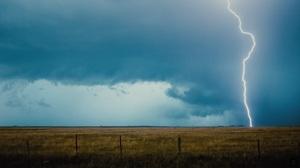 Lightning Field Sky Clouds Fence Outdoors Landscape 1920x1080 Wallpaper