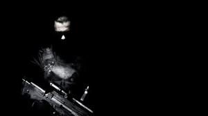 The Punisher Punisher Frank Castle Marvel Comics Black Background Weapon Monochrome 1920x1080 Wallpaper