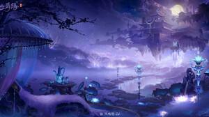 Jun Zhang Fantasy Art Digital Art Asian Architecture Landscape Fantasy City Blue Purple Trees Clouds 1920x1001 Wallpaper