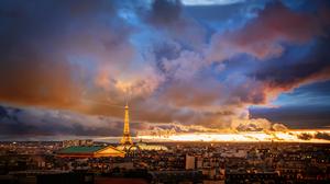 Paris City Eiffel Tower Light Twilight Sunset Cityscape Cloud 7306x4500 Wallpaper