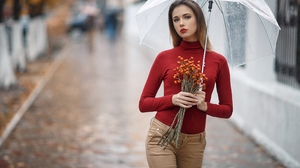 Women Model Brunette Portrait Outdoors Looking At Viewer Red Lipstick Rain Umbrella Turtlenecks Pant 2560x1707 Wallpaper