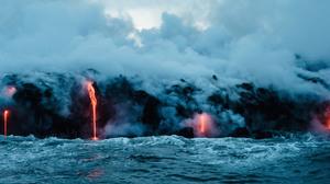 Landscape Water Lava Volcano 3440x1440 Wallpaper