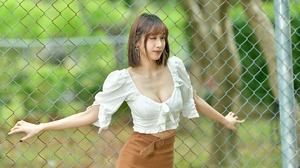 Asian Women Model Long Hair Brunette Depth Of Field Blouse Fence Trees Bushes Skirt 2048x1365 Wallpaper