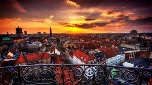 Man Made Copenhagen Denmark City Sunset Cityscape 2048x1367 wallpaper