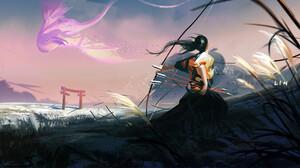 Artwork Fantasy Art Dragon Arrow Arrows Bow Women Asian 2560x1433 Wallpaper