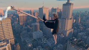 WLOP Anime Girls Rocket Supergirl Cityscape 3192x1316 Wallpaper