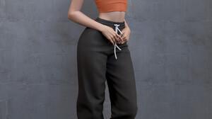 Shin JeongHo CGi Women Brunette Shoulder Length Hair Bangs Straight Hair Tank Top Orange Clothing Ne 1080x1440 wallpaper