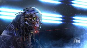 Artwork Digital Art Science Fiction CGi Skull Robots Laser Futuristic Cyberpunk 1920x1156 wallpaper